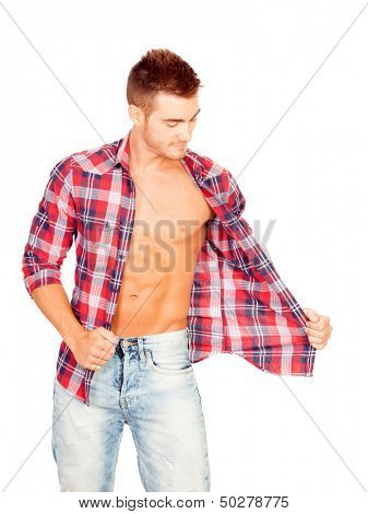 Young man with unbuttoned plaid shirt isolated on white background