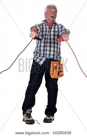 Man getting an electric shock