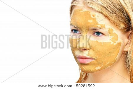 Spa Woman Face With Facial Clay Mask Organic Beauty Treatments Skin Care Isolated On White Backgroun