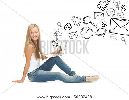 education and school concept - student girl with laptop computer