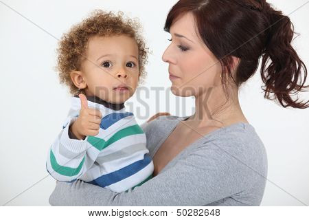 Little boy giving the thumbs-up