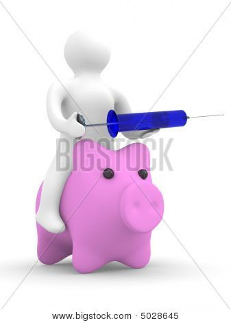 Doctor Puts Injection To Pig. Isolated 3D Image. Swine Flu