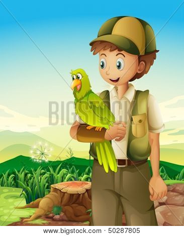 Illustration of a boyscout holding a parrot