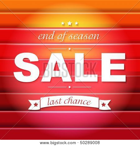 Red Sale Poster With Text, With Gradient Mesh, Vector Illustration