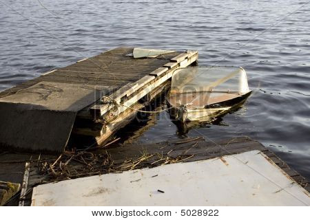 A Partially Submerged Boat.