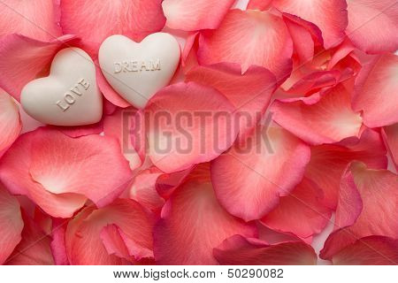 Rose Petals with Love and Dream hearts