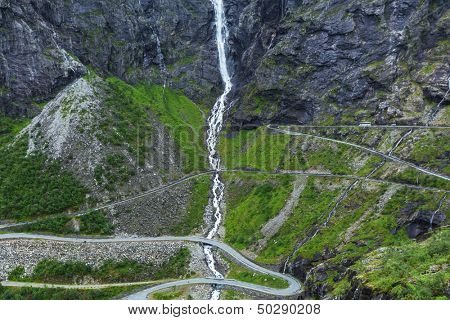 Trollstigen, Troll's Footpath, serpentine mountain road in Norway