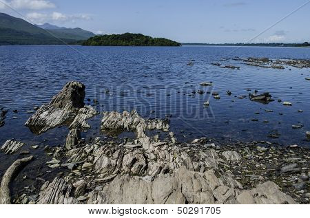 rock formations at the lake
