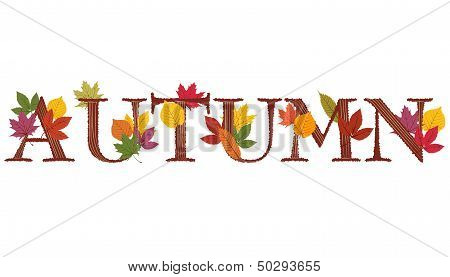 Autumn Text Decorated With Leaves