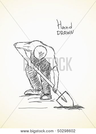 Hand drawn sketch of man digging ground with spade