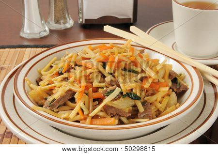 Beef Lo Mein And Tea