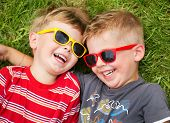 image of grass  - Smiling brothers - JPG