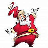 image of presenting  - Happy smiling Santa Claus cartoon character in red suit presenting making a presentation gesture - JPG