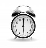 image of analog clock  - classical alarm clock ringing on white background - JPG