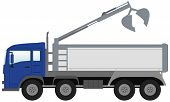 stock photo of truck-cabin  - isolated modern bucket truck with blue cabin - JPG