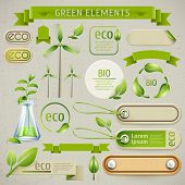 stock photo of ecology  - Vector set of eco symbols - JPG
