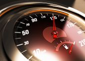 stock photo of speedometer  - Close up of a car speedometer with the needle pointing 130 Km h blur effect conceptual image for speed limit - JPG