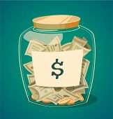 foto of currency  - Saving money jar - JPG