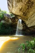 stock photo of chan  - Tropical Waterfall Sang Chan water comes out of the rock - JPG