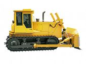 foto of earthwork operations  - Heavy crawler bulldozer isolated on a white background - JPG