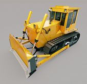 stock photo of earthwork operations  - Heavy crawler bulldozer on a gray background - JPG