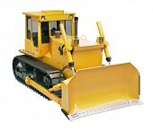 image of earthwork operations  - Heavy crawler bulldozer isolated on a white background - JPG