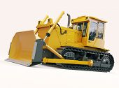 foto of earthwork operations  - Heavy crawler bulldozer on a light background - JPG