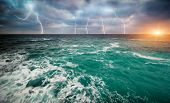 foto of thunder-storm  - Storm on the sea - JPG