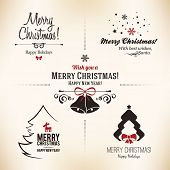 picture of holly  - Christmas and New Year symbols for designs postcard - JPG