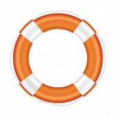 foto of salvation  - Orange lifebuoy with white stripes and rope  - JPG