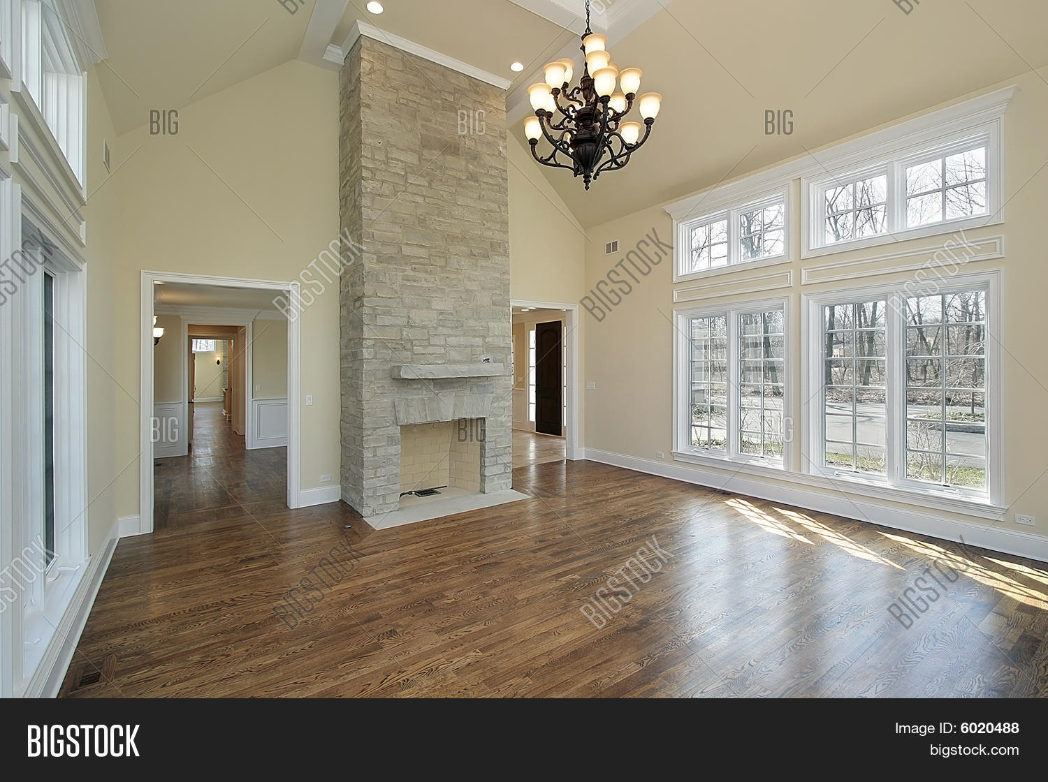 Living Room With Two Story Fireplace Stock Photo Amp Stock