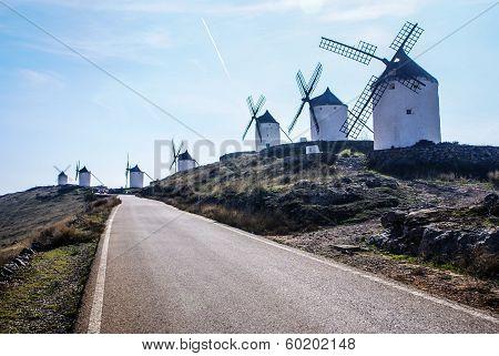 Cervantes Don Quixote Windmills And Consuegra Castle. Castile La Mancha, Spain