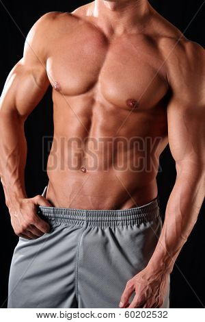 Fit, muscular and athletic male body