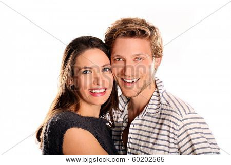 Happy young attractive couple white background