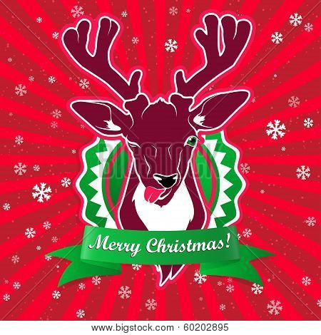 winking and show it's tongue deer with christmas greeting