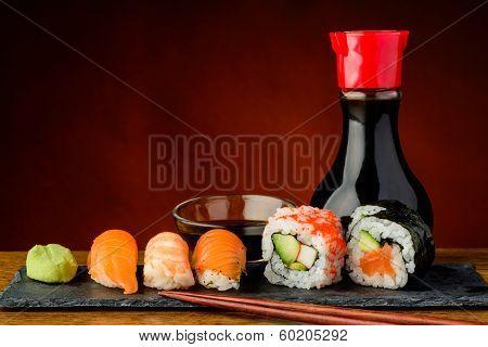 Futomaki, Uramaki And Nigiri Sushi