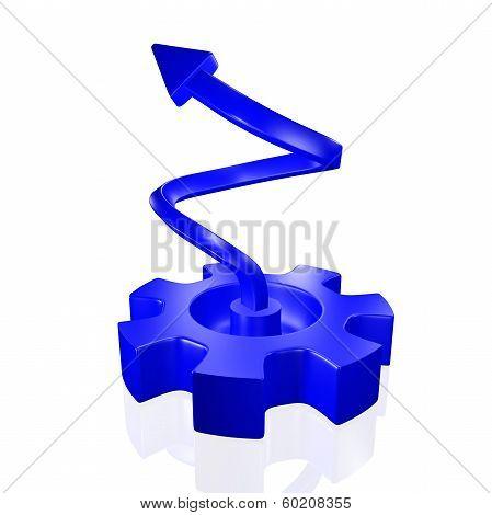 Gear Spinning Growth Arrow