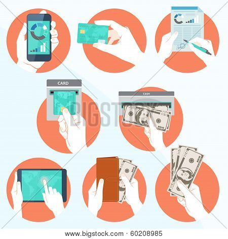 Icon set with Hands holding credit card, smartphone,