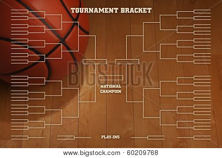 Basketball Tournament Bracket With Spot Lighting On Wood Gym Floor