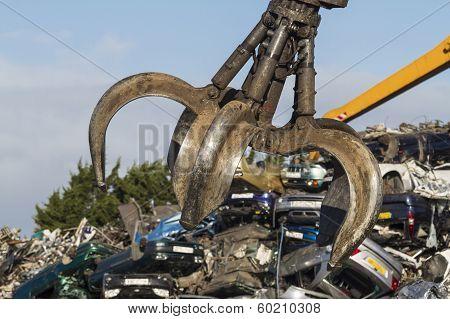 Close Up Of A Crane Grab In A Scrapyard