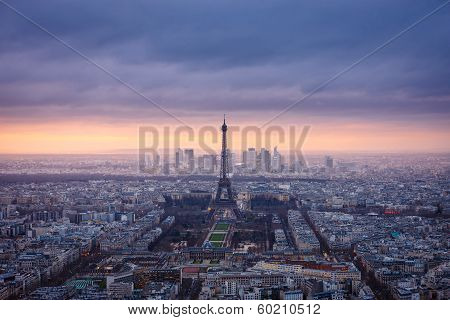Aerial View Of Paris At Dusk