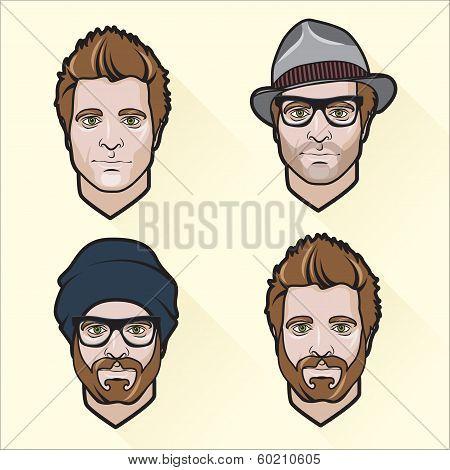 Set of flat design men's portraits.