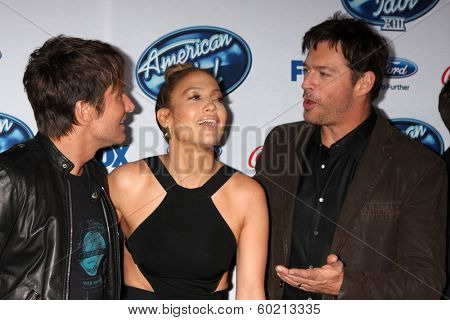 LOS ANGELES - FEB 20:  Keith Urban, Jennifer Lopez, Harry Connick Jr at the American Idol 13 Finalists Party at Fig & Olive on February 20, 2014 in West Hollywood, CA