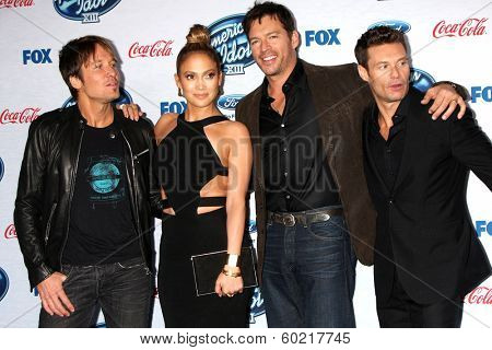 LOS ANGELES - FEB 20:  Keith Urban, Jennifer Lopez, Harry Connick Jr, Ryan Seacrest at the American Idol 13 Finalists Party at Fig & Olive on February 20, 2014 in West Hollywood, CA