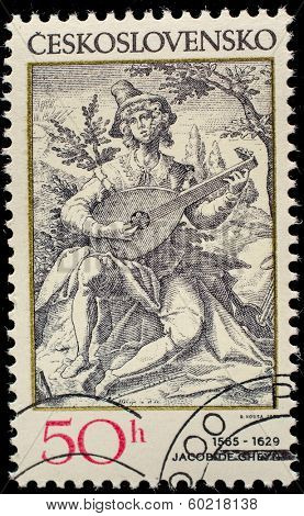 CZECHOSLOVAKIA - CIRCA 1982: A stamp printed in Czechoslovakia shows musician, by Jacques Callot (1594-1635), circa 1982