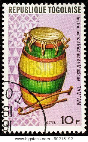 TOGO - CIRCA 1991: A stamp printed by Togo, shows Tamtam drum, circa 1991