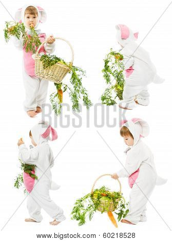 Baby In Easter Bunny Costume With Carrot Basket, Kid Girl As Hare Rabbit