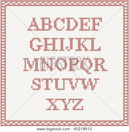 Christmas Font: knitted alphabet in red color