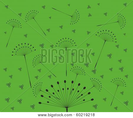 Dandelion with seeds on yellow background