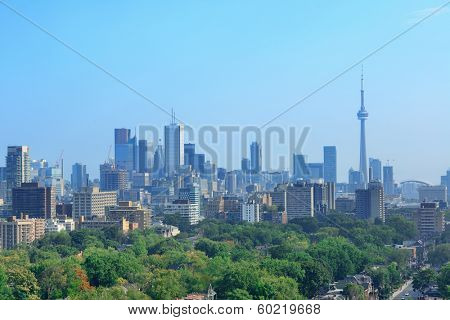 Toronto city skyline view with park and urban buildings